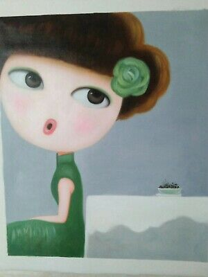 Hand made Modern abstract Oil Painting on Canvas Big eyes lady no frame # b012