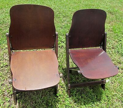 1940s World War II WWII Folding Wood Chairs US American Seating Co Michigan Pair