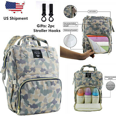 lequeen Camouflage  Mommy Baby Diaper Bag Large Capacity Nappy Backpack