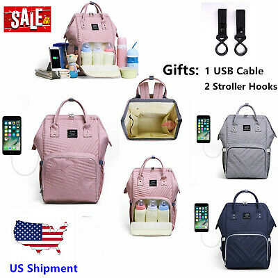 LAND USB Mommy Baby Diaper Bag Large Capacity Nappy Backpack W/ Stroller Hook