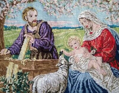 Completed wool TAPESTRY Royal Paris Giovanni - Holy Family Skillfully Stitched