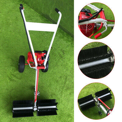 43CC Gas Power Walk Behind Sweeper Broom Hand Held Driveway Walkway Cleaning US