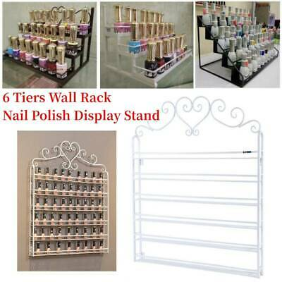 AU 6 Tiers Metal Heart Makeup Nail Polish Storage Organizer Wall Rack Display