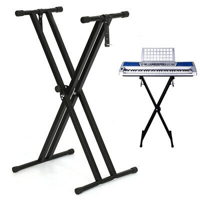 Adjustable Height Folding X Type Double-Braced Music Piano Keyboard Stand New