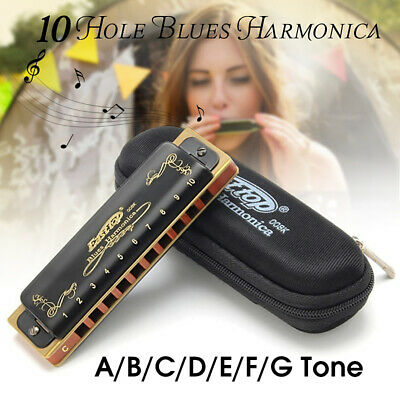 Blues Harmonica A-G Key Easttop T008K 10 Hole Professional Portable For Beginner