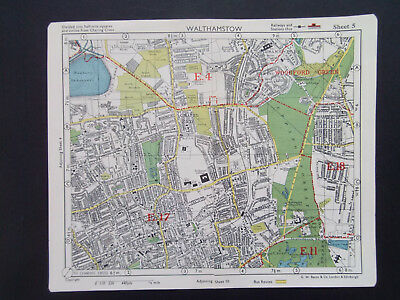 LONDON WALTHAMSTOW WOODFORD GN WHIPPS X VINTAGE BACONS 1949 STREET MAP 18x22CM