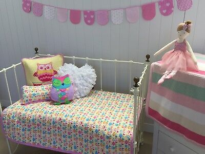 Owl Girls Cot Quilt Cotton Quilted Baby Hoot Hoot Nursery Bedding Coverlet