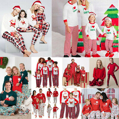 UK Family Matching Women Kids Christmas Pyjamas Xmas Nightwear Pajamas Sets 2019