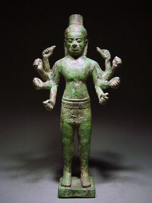 A KHMER BAYON STYLE BRONZE FIGURE OF A MULTI-ARM BODHISATTVA. EARLY 13th CENTURY