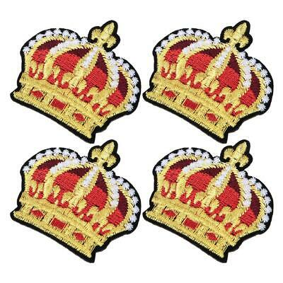 4x Gold Crown Embroidery Patch Sew on Embroidered Applique For Clothes Jeans Hat