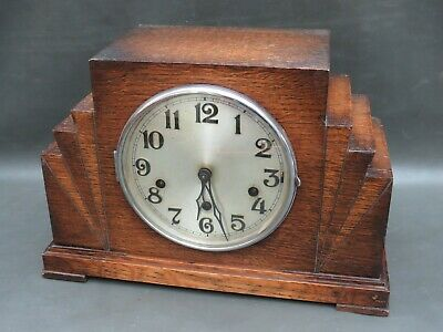 Vintage wooden Art Deco Haller mantle clock with Westminster Chimes to restore
