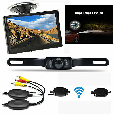 "5"" TFT LCD Monitor + Wireless Car Backup Camera Rear View System W/ Night Vision"