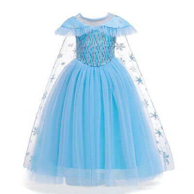 Children Long Princess Dresses Kids Girls Sequined Mesh Party Prom Fancy Dresses