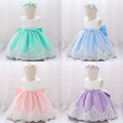 Cute Baby Bow Flower Princess Tutu Dress Toddler Kids Girls Party Birthday Dress