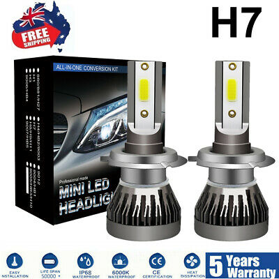 Pair H7 100W 20000LM CREE LED Headlight Kit Driving Lamp Globes Canbus 6000K