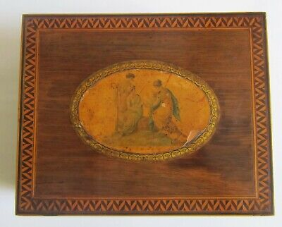 Antique Victorian Rosewood and Parquetry Jewellery / Stationary Box