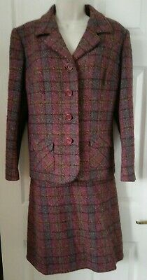 Vintage Detects London Pure New Wool Suit, Skirt, Jacket, Size 14