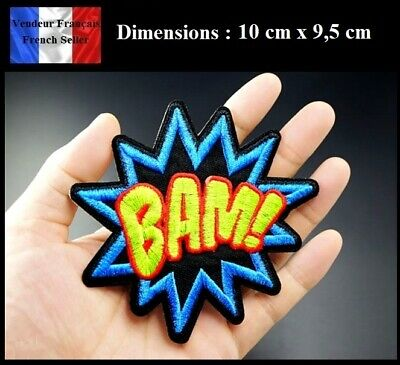 """Écusson Brodé Thermocollant NEUF ( Patch Embroidered ) - """" BAM ! """" Explosion"""