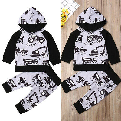 AU Stock Newborn Baby Boy Girl Infant Hooded Tops Pants Leggings Outfit Clothes