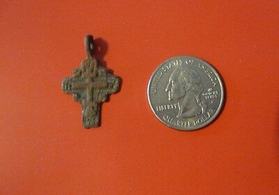 Ancient Russian Orthodox Cavalry Prayer Bronze Cross pendant 17th-19th c #A
