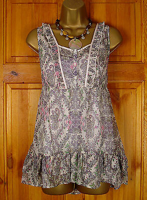 NEW GORGEOUS M/&S CREAM LILAC PINK GREEN PAISLEY TUNIC /& CAMI TOP TWINSET UK 8