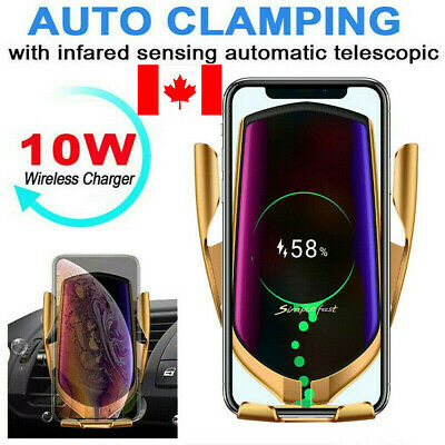 CA Automatic Clamping Wireless Car Charger Holder Qi Fast Charge Infrared Sensor