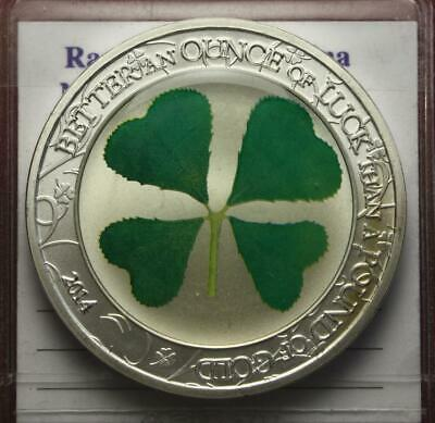 Nl* Palau 5 Dollar 2014 1 Oncia 1 Oz Argento Puro An Ounce Of Luck Prooflike