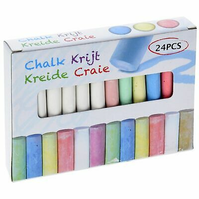 24 Piece Coloured Chalk Markers Sticks Blackboard Pavement Kid School Dart Floor