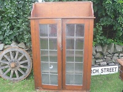 Victorian Pitch Pine Glazed Bookcase Leaded Glass...Restoration,Prop,Barn Find!!