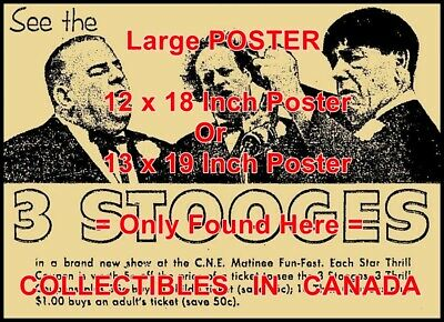 """3 STOOGES 1963 Toronto CNE Ontario =POSTER Not Ad / Thrill Coup. 2 SIZES 18or19"""""""