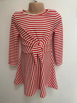 ex RIVER ISLAND Girls Red and White Striped Dress with Front Bow