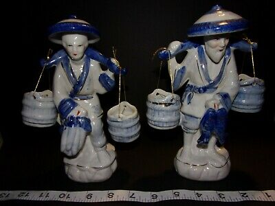 Vintage Chinese Fisherman Couple Blue White Porcelain Figurine Statues