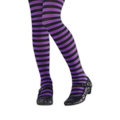 Kids Girls Purple Black Striped Wicked Witch Halloween Tights Costume Hosiery