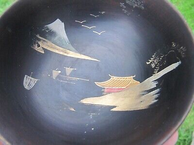 Japanese or Chinese Oriental Lacquer Wood Pagodas Landscape Signed Bowl