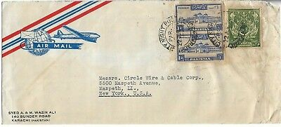 Pakistan Typed Air Mail Letter With 3 Stamps To Usa  My Ref  1487