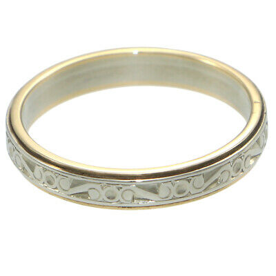 Vintage Art Deco Floral Etched Wedding Band 14k White Gold Ring