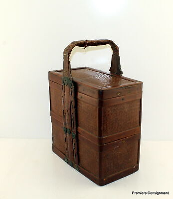Vintage or Antique Asian Oriental Stacking Wicker and Wood Lunchbox