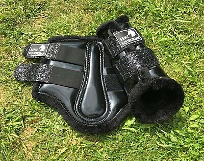 Black Patent Glitter Brushing Tendon Dressage Protection Boots Fleece Xs-Xl