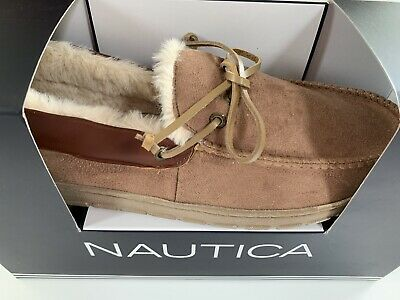 Nautica Men's Forestay Microsuede Moc Slipper Oyster Brown CN6141 M 9-10 L 11-12