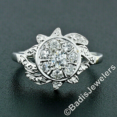 Antique Art Deco 14K White Gold 0.51ctw Old European Diamond Etched Cluster Ring
