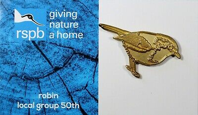 RSPB GNaH Gold Robin Pin Badge on new brand card - local group 50th