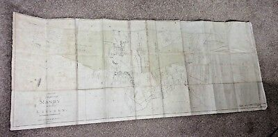 RARE Antique Canvas Sketch of the Parish of Manby in the County of Lincoln 1816