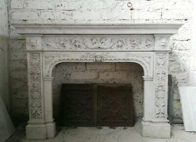 RARE MUSEAL  ANTIQUE White Carved Marble Fireplace French Louis XVI End 18th