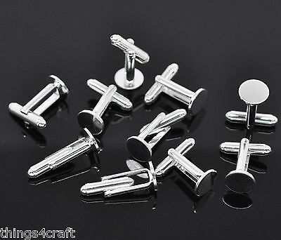 Cufflink Findings Cuff Link Blank Backs 10mm Plate Round Bar with U Arm Type