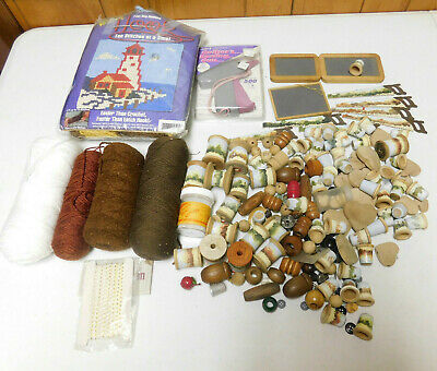 Misc Crafting Supplies Lot Wooden Pieces, Yarn