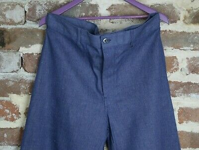 Vtg French Workwear Mens Chore Denim Trousers Pants Peasant Workers Hobo W38