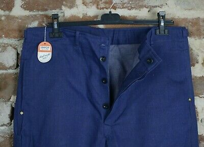 Vtg French Workwear Mens Chore Sanfor Denim Trousers Pants Peasant Workers W37