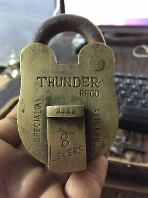 Vintage Thunder Regd. 4444 T.M. Aligarh Handcrafted 8 Levers Solid Brass Padlock