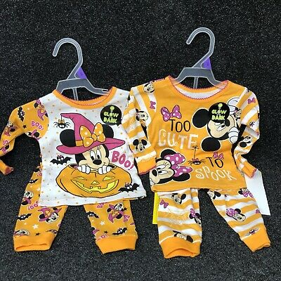 Infant Girls LOT Of 2 Pairs Halloween Minnie Mouse Pajamas- Disney 12 Months NWT