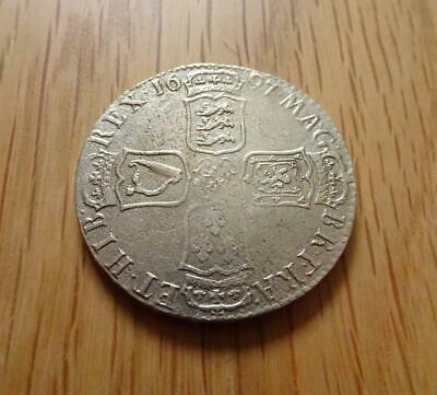 William Iii Sterling Silver Halfcrown 1697 E Exeter Mint Great Britain Uk